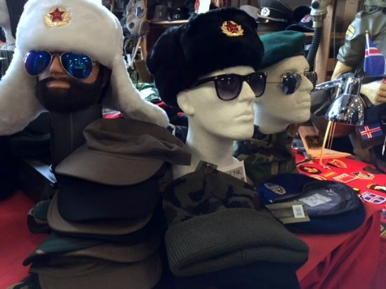 Military style hats in a decidedly non-military-style