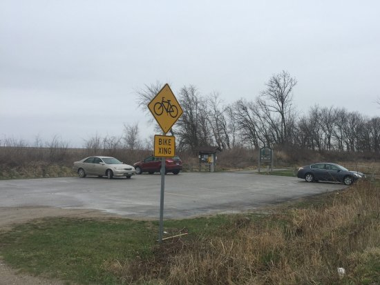 The parking lot for riders on Great Western Bike Trail which adjoins Cumming Tap