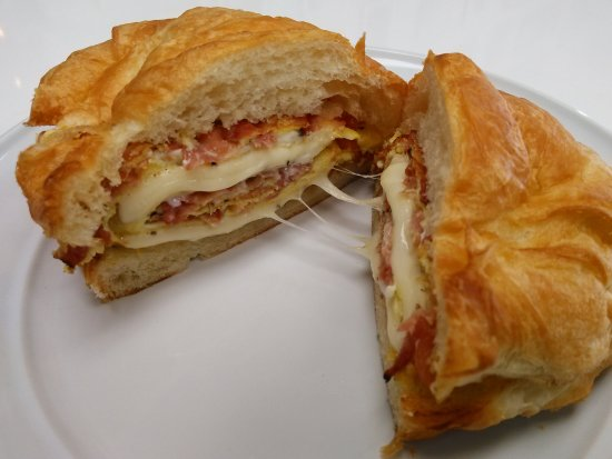 Ham Heaven & Devil Dogs: Bacon, Egg, Cheese on Croissant