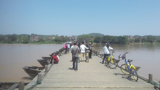 Ganzhou, China: Looking across the pontoon