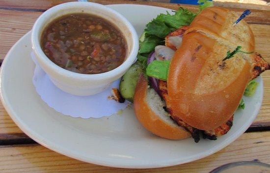 Larkspur, CA: lentils soup with sandwich