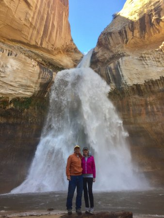 "Calf Creek Falls Recreation Area: After 6"" of snow overnight, the falls were raging"