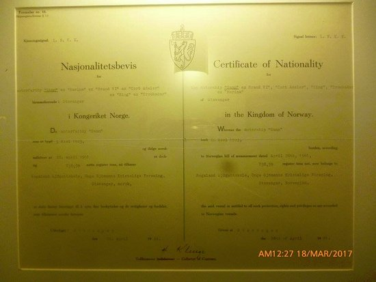 the original birth certificate of the ship - Picture of ...