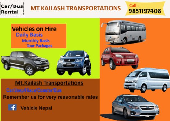 Nepal Vehicle Hire: For every trips or local movement.
