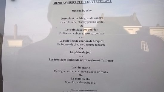 Isbergues, Frankrike: Menu