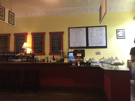 Mayberry's: counter where you order with menu on wall