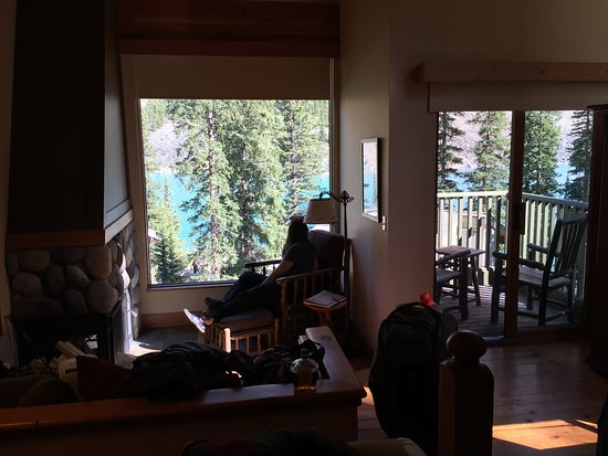 Moraine Lake Lodge: View from within our Deluxe King Cabin, through floor to ceiling window.