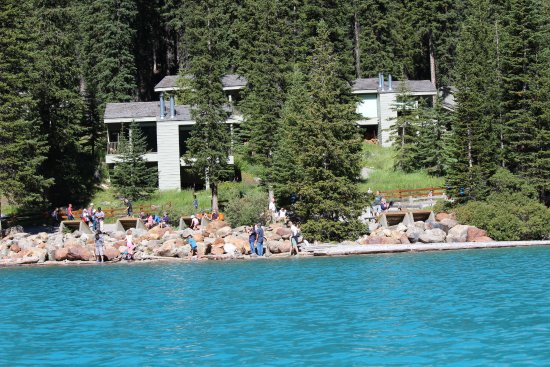 Looking at the Moraine Lake Lodge cabins from our canoe.