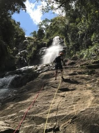 Bocawina Adventures & EcoTours Ltd.: The 2nd rappel. The 1st was above, in the waterfall.