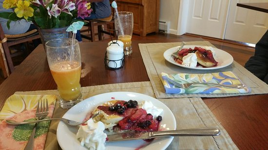 Pawling, NY: Pancakes with berries and whipped cream on top