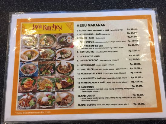 Java Kitchen: The Menu. Not Cheap For A Food Court Eatery But Quality And