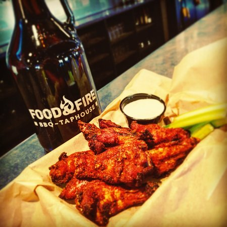 Food & Fire BBQ Taphouse: Try our award-winning smoked, dry-rubbed wings.