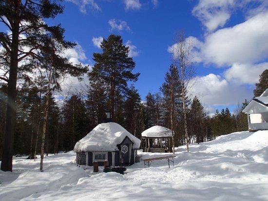 """Martinselkonen Wilds Centre: """"bar"""" with open fire"""