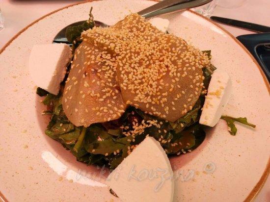 Yiantes: Πράσινη σαλάτα με αχλάδι τουρσί και μανούρι (τέλεια)!