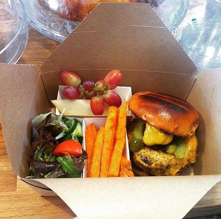 Wirksworth, UK: Bento Box - cheese burger, sweet potatoes fries, salad and a fruit salad for £4 👅
