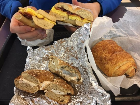 Isadoras Cafe: Bagels and a chocolate croissant