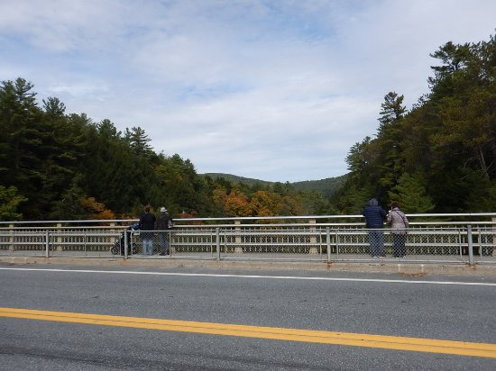 Quechee, VT: Railings outside and along the road to protect you from traffic (& prevent accidents on the brid