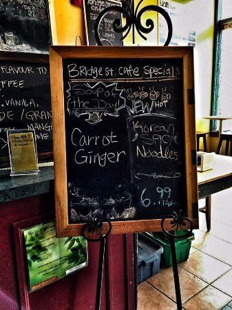 Menu at the Bridge St. Café in Sackville NB Canada