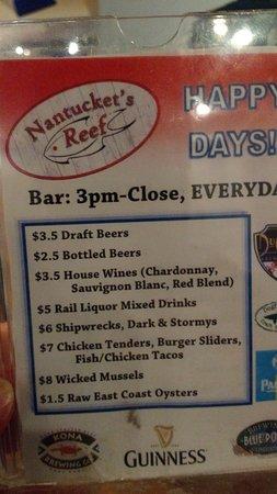 Potomac, MD: happy hour menu