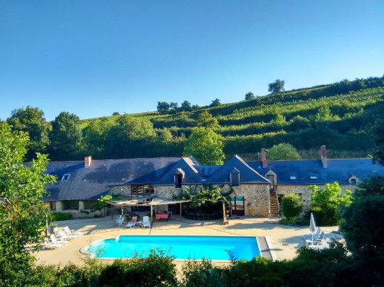 Faye-d'Anjou, France : View to Pool, office, WIFI lounge and gites from top floor of the Castle