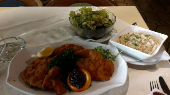 Gasthof Häuserl im Wald: my favorite: Wienerschnitzel (Pork) with rice and green salad with pumkinseed oil