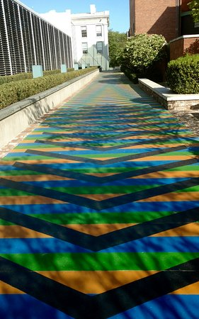 "SCAD Museum of Art: From Carlos Cruz-Dies ""Chroma"": a sidewalk outside the SCAD museum"