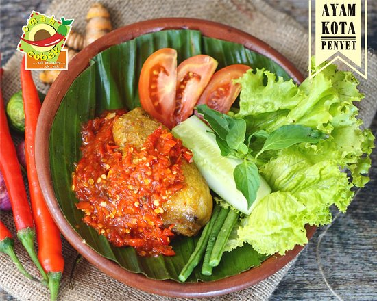 Ayam Kota Penyet Fried Chicken Pressed With Spicy