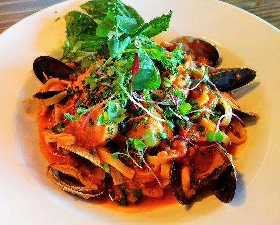 Courtenay, Kanada: Ocean7 - the Seafood Pasta I ordered which was filled with shellfish in a tasty tomato based sau