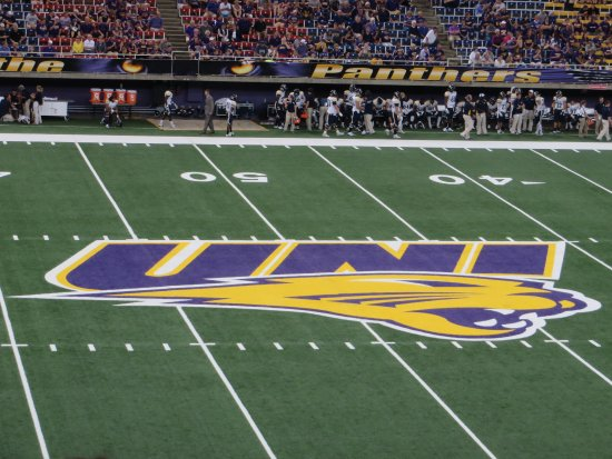 Cedar Falls, IA: UNI logo center of football field