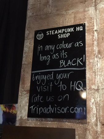Steampunk HQ: The sign in the Gift Shop