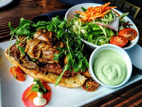 Courtenay, Kanada: AQUA Bistro - Steak Sandwich with salad for brunch