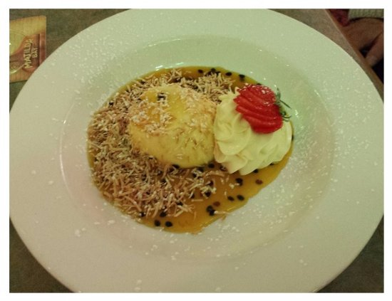 Wentworth Falls, Australia: White Chocolate pannacotta with passionfruit and coconut