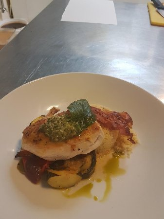 Антрим, UK: A chef special ,pan fried chicken,medley roasted veg,Parma ham,Cous Cous & Basil pesto!!delightf