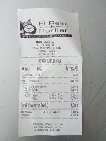 ticket 1 El Reloj de Porlier