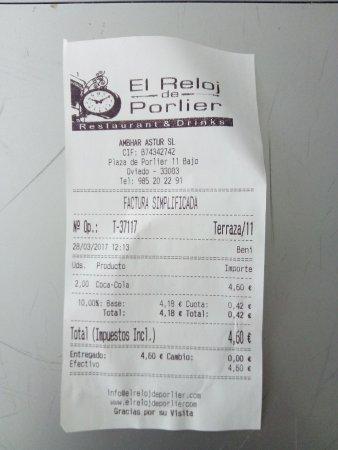 ticket 2 El Reloj de Porlier