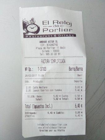 ticket 3 El Reloj de Porlier