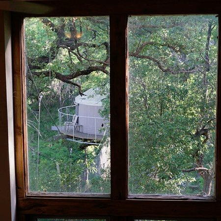 Spicewood, Техас: from the inside looking towards the treehouse