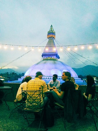 Roadhouse Cafe: This is the view from the terrace. From here you get the best view of the stupa.