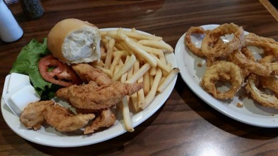 Independence, MO: Corner Cafe Chicken Strips and Fries. Plus, side order of Onion Rings.