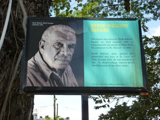 Derek Walcott Square: Information sign