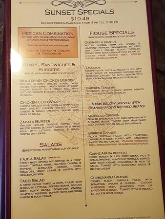 Zapata's Border Cafe: Menu