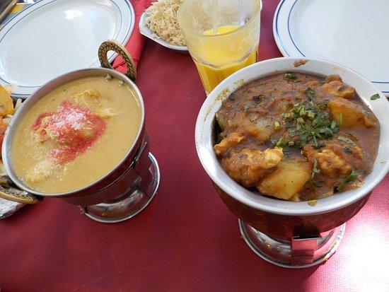 Taste of India: chicken and potato balti + korma