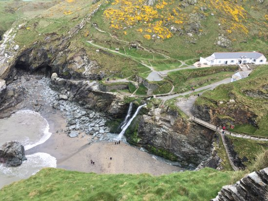Tintagel Castle: View of the waterfall from the castle