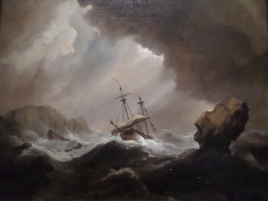 Chrysler Museum of Art : Dutch painting of an English ship crashing onto rocks in a gale.
