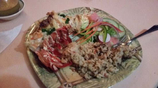 Olveston, Montserrat: Lobster Thermidor with rice