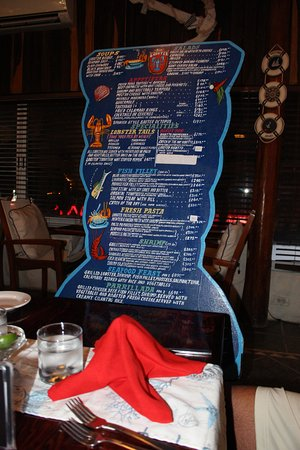 Blue Lobster : This is the menu they brought to our table!