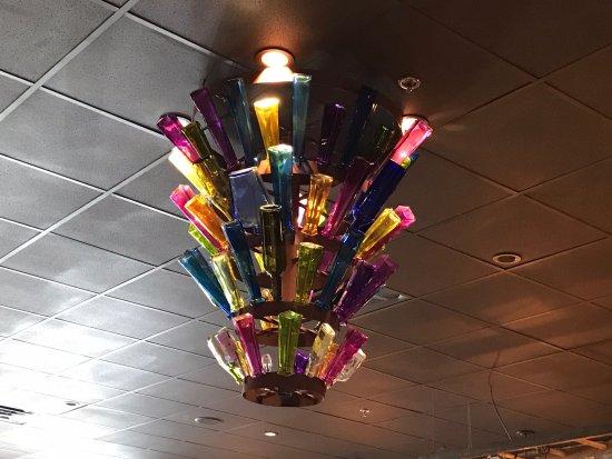 Port Saint Lucie, FL: Unique light fixture made from glass bottles.