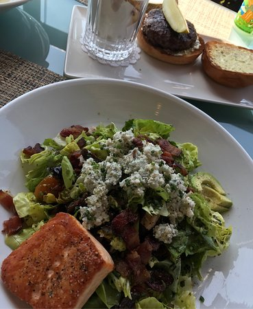 Boa Steakhouse: Damn good chop salad with my side of grilled salmon and a hamburger made with premium meat at BO
