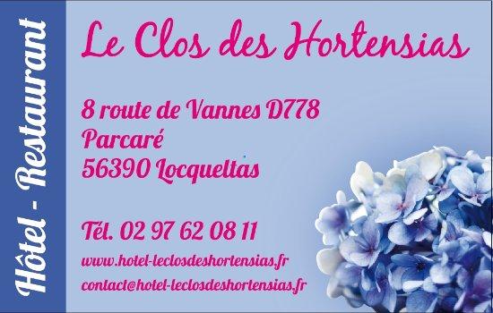 Le Clos Des Hortensias Carte De Visite