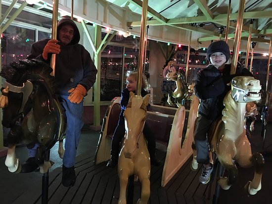 Endicott, NY: Picture of the family during the winter carousel ride - They had a great time.